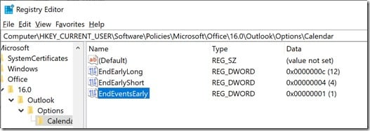 Edit registry entry to end events early on Outlook