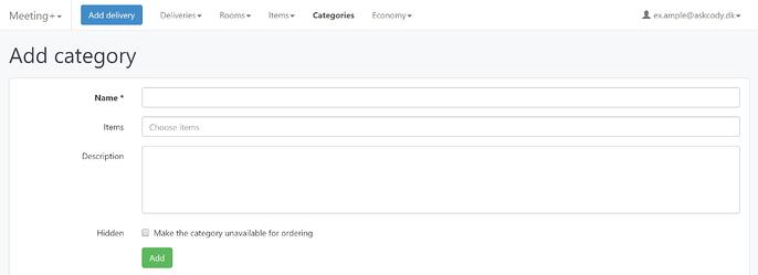Add a category in the AskCody Meeting Services Management Portal