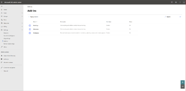 Add-ins section in the Microsoft 365 Admin Center