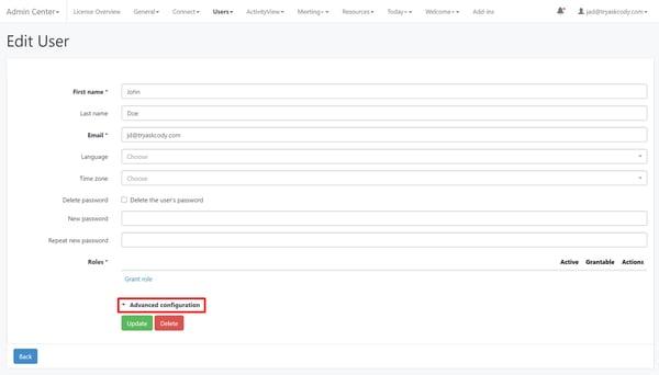 Advanced configuration on user profile