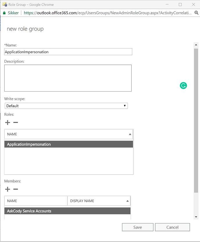 Application Impersonation Role Group in Exchange Admin Center