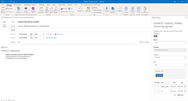 AskCody Meeting services Add-in in Outlook