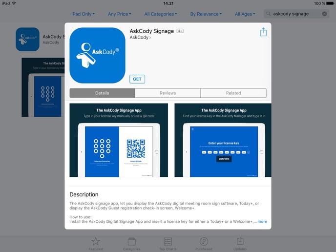 AskCody Signage App iPad