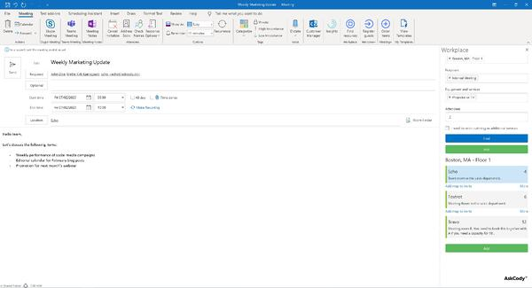 AskCody Workplace Add-in in Outlook
