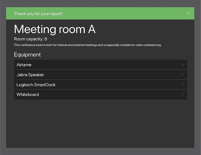 AskCody room displays issue report confirmation