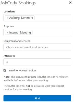 Buffer-time in AskCody Bookings Add-in