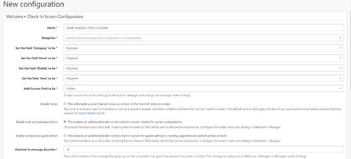 Check-in screen configuration in the AskCody Management Portal