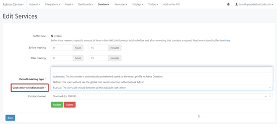 Cost Center Selection Mode in Meeting Services Settings