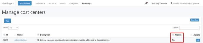 Cost Center hidden