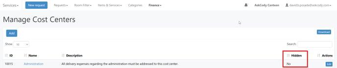 Cost Center not hidden