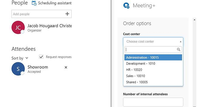 Cost center selection in AskCody Meeting services add-in for Outlook