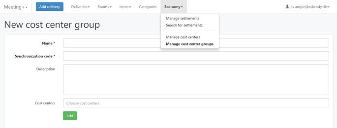Create a cost center group in the Meeting Services Portal