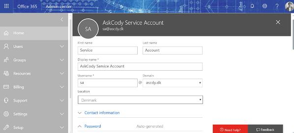 Create a service account in Exchange 2013