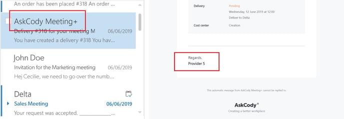 Default delivery provider e-mail sending name