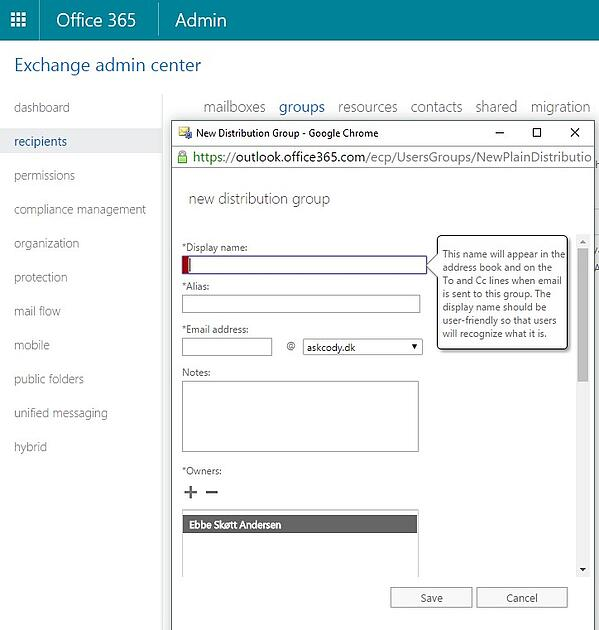 Display Name of a Distribution group in Exchange Admin Center