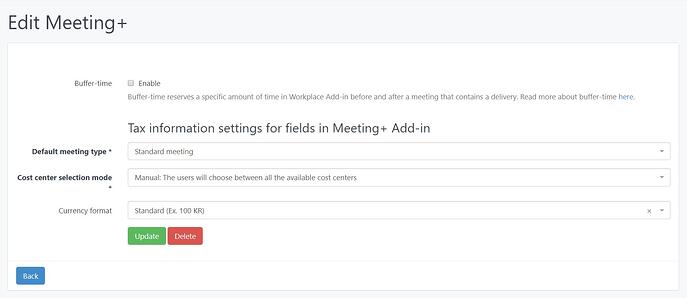 Edit Meeting Services options in the AskCody Management Portal