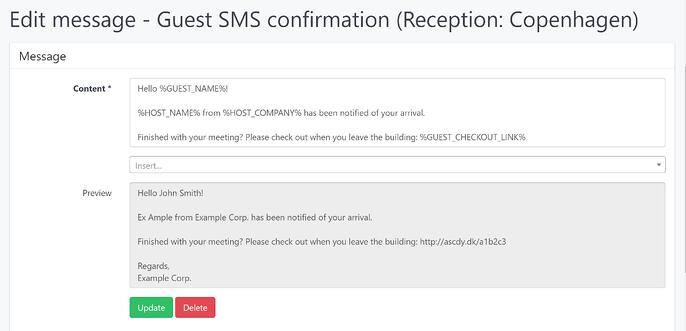 Edit SMS in the AskCody Management Portal