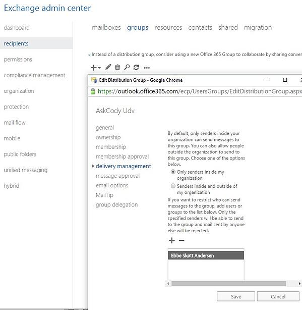 Edit screen of Distribution Group in Exchange Admin Center
