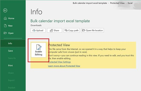 Enable editing on an Excel document