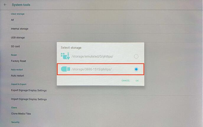 Import signage display settings on Philips 10BDL4551T