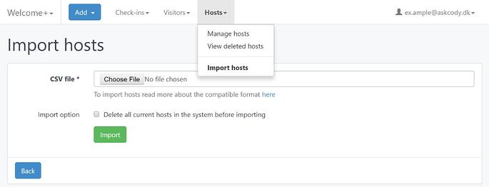 Import hosts to a reception in the AskCody Management Portal
