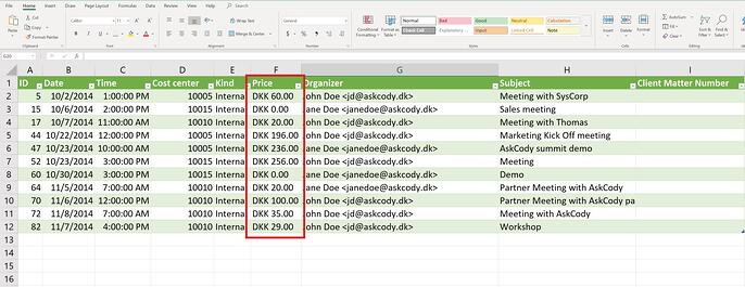International format for currency in settlements CSV export