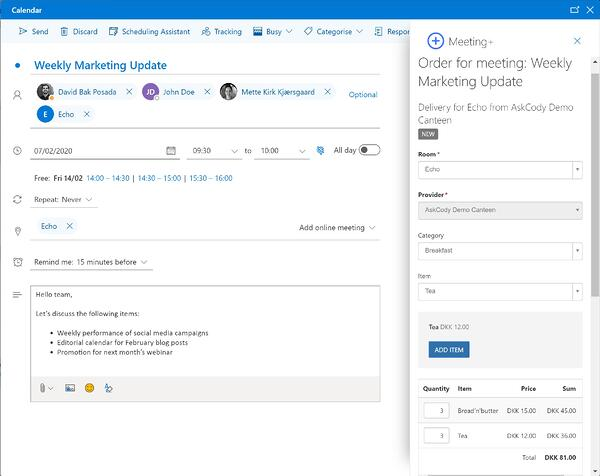 Items list in the Meeting services AskCody Add-in in Outlook