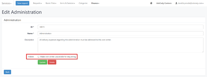 Make Cost Center unavailable for requesting in AskCody Management Portal