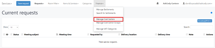 Manage Cost Center option in Meeting Services