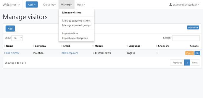 Manage Visitors in the Visitor Management Portal
