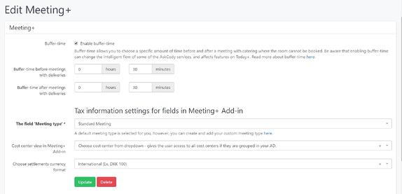Meeting Services settings in the AskCody Management Portal