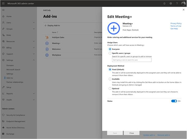 Settings for the AskCody Modern Add-ins in Microsoft Exchange