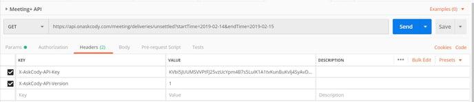 Meeting+ API Postman request example