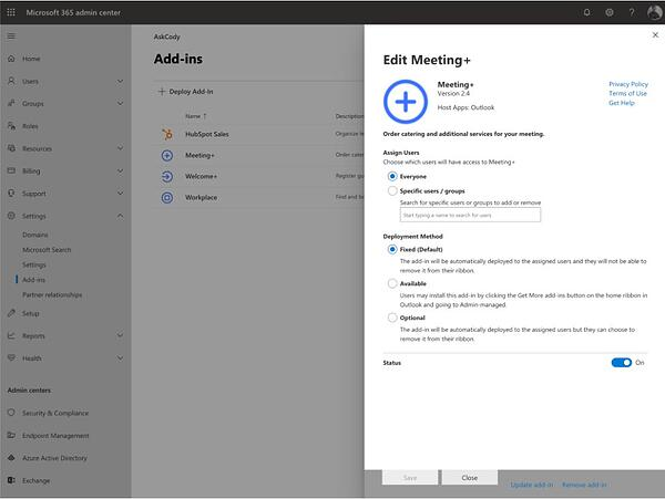 Deployment settings for the AskCody Meeting Services add-in in Microsoft Exchange