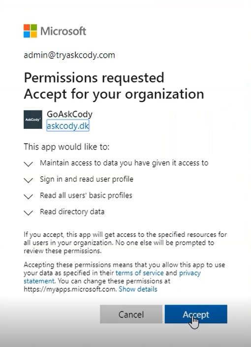 Permissions requested by AskCody App to access EWS