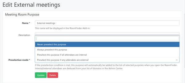 Purpose preselection settings in the AskCody Management Portal