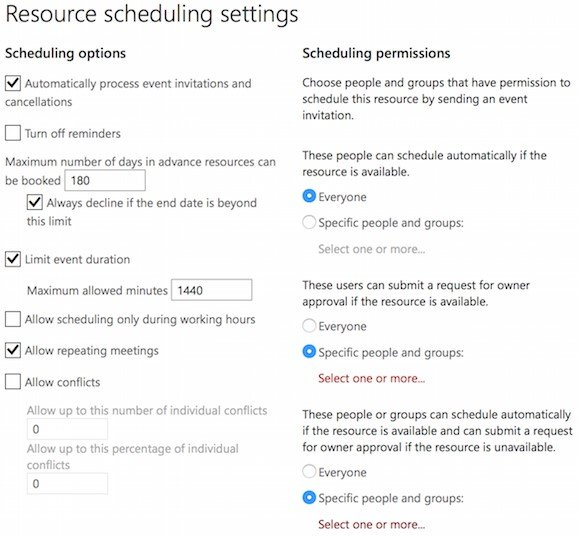 Resource Scheduling Settings on Microsoft Exchange