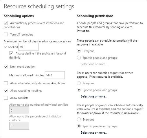 Resource Scheduling Settings in a Microsoft Exchange room calendar