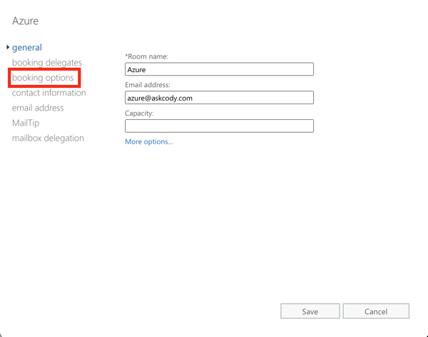 Booking options in Exchange Admin Center