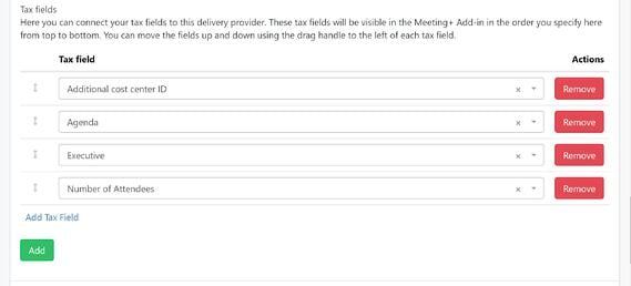 Tax fields attached to a delivery provider in the Meeting Services portal