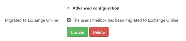 User Migrated to Exchange Online