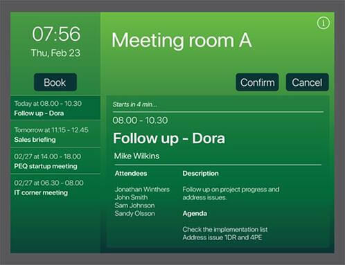 Available view on the AskCody Meeting Room Displays