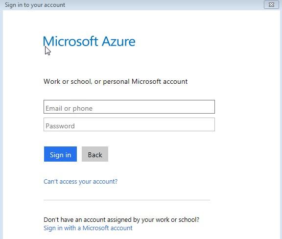 Microsoft Azure Login screen