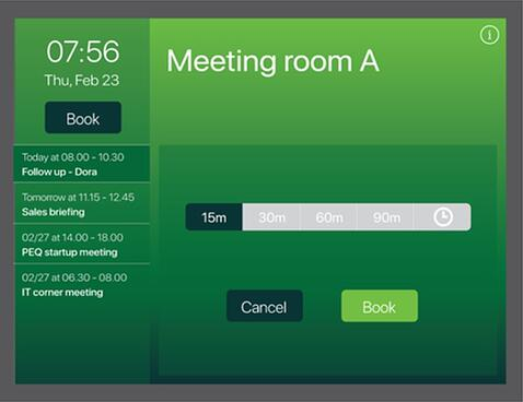 Booking an ad-hoc meeting in the AskCody Meeting Room Displays
