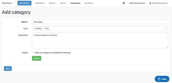 Categories in the Meeting Services Module in AskCody