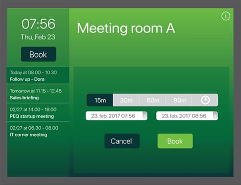 Select duration of ad-hoc meeting on the AskCody Meeting Room Displays