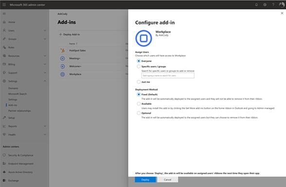 Deployment settings for the AskCody modern Add-ins in Microsoft Exchange