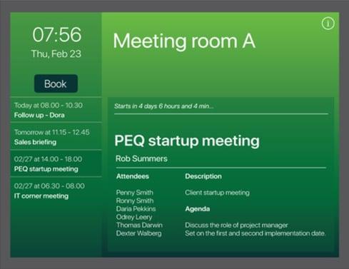 Room schedule on AskCody Room Displays