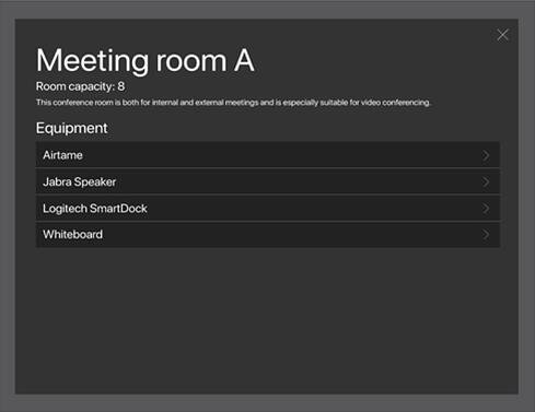 Equipment and Service information on the AskCody Meeting Room Displays