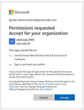 Permissions requested by the AskCody App in EWS